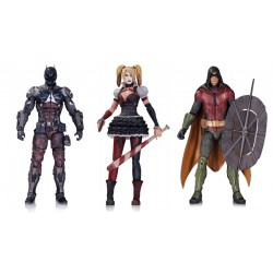 Набор фигурок Бэтмен - Batman, Robin, Harley Quinn- Batman Arkham Knight (18см)